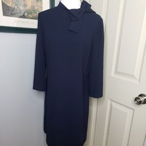 Eliza J Navy Shift Dress Bow Detail Size 14.